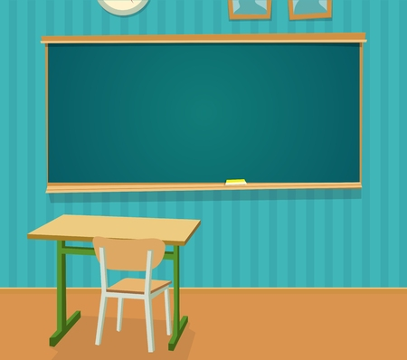 Illustration pour Interior of classroom with desk and blackboard. Vector flat color illustration isolated. - image libre de droit