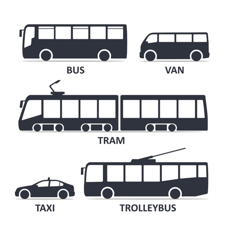 Illustration for public transport type icons set. Bus, Van, Tram, Taxi, Trolleybus. Vector black illustration isolated on white background with title. Variants of car body silhouette for web. - Royalty Free Image