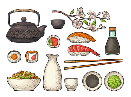 Illustration pour Set Sushi. Chopsticks, wasabi, nigiri, rolls, board, soy sauce, cup, bottle, bowl, teapot, sakura cherry branch with flowers and bud. Vintage black vector engraving isolated on white background. - image libre de droit