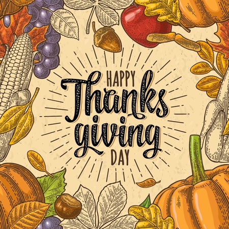 Illustration pour Seamless pattern with Happy thanksgiving calligraphy lettering and pumpkin, tomato, corn, pepper, leaf maple, grapes, apple, seed chestnut. Vintage color vector hand drawn engraving illustration. - image libre de droit