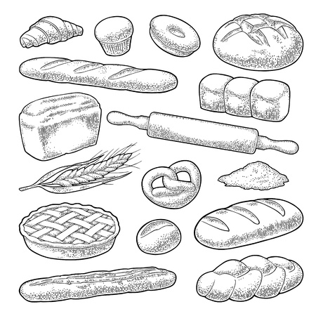 Illustration pour Set bread. Isolated on the white background. Vector black hand drawn vintage engraving illustration for poster, label and menu bakery shop. - image libre de droit