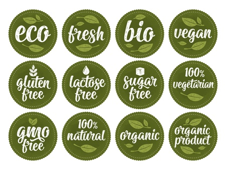 Illustration for Gluten, lactose, sugar, gmo free lettering. Sign 100% organic food - Royalty Free Image
