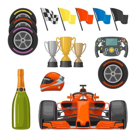 Illustration pour Set race flat icons. Helmet, champagne, cup, flag - image libre de droit