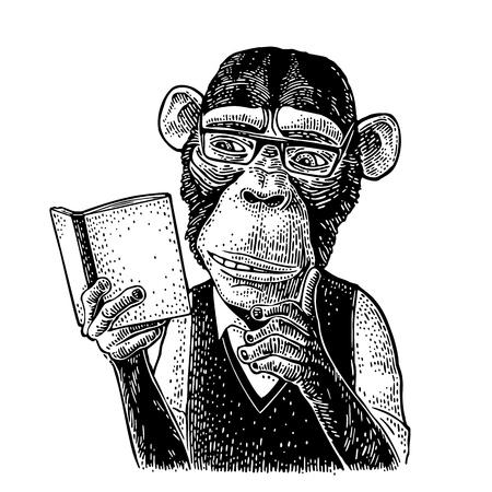Illustration pour Monkey hipster is reading a book. Vintage black engraving - image libre de droit