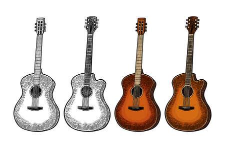 Illustration pour Acoustic guitar. Vintage vector color engraving illustration for poster, web. Isolated on white background. - image libre de droit