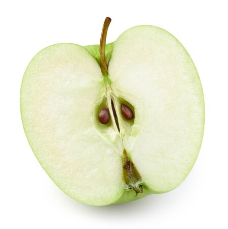 Photo for Ripe fresh apples half clipping path. Green apples isolated on white background. - Royalty Free Image
