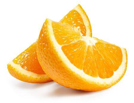 Photo for Orange fruits slice isolated on white - Royalty Free Image