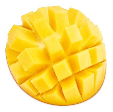 Photo for Sliced mango fruit isolated on white background. - Royalty Free Image