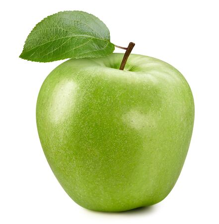 Photo for Fresh green apple fruit with leaf isolated on white background. - Royalty Free Image
