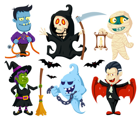 A set of cute flat cartoon characters for Halloween: vampire, witch with broomstick, monster with power cables, mummy with candle, ghost with chain, death with scythe.