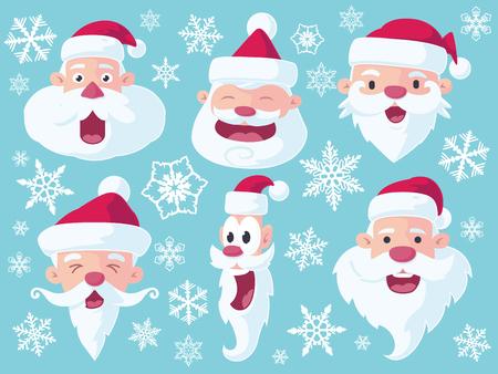 A set of 6 vector cartoon Santa Claus heads for Christmas - flat style.