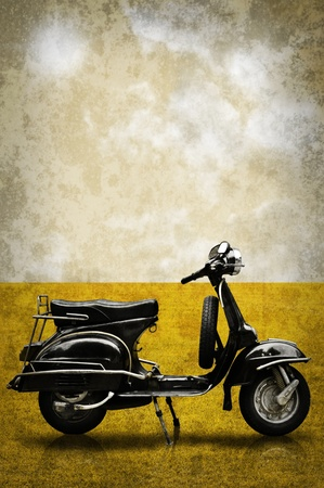 Photo pour Vintage motorbike on field in retro style - image libre de droit