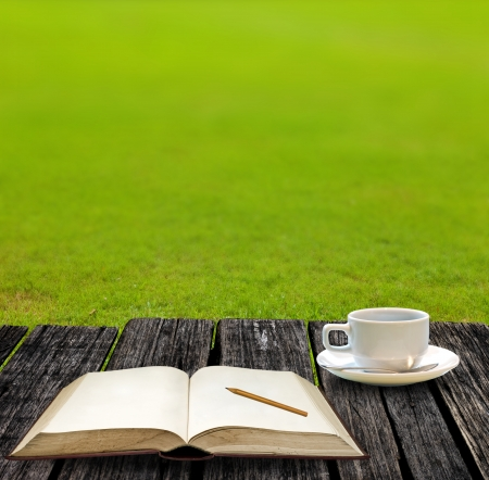 Rest for write on note book and drink hot coffee on garden