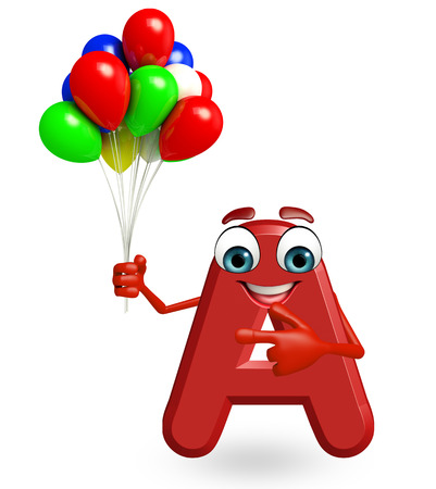 3d rendered illustration of alphabet A Cartoon Character with balloons