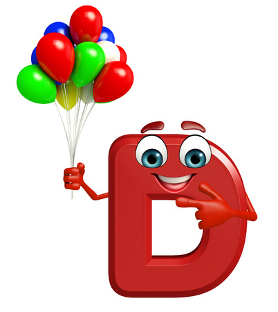 3d rendered illustration of alphabet D Cartoon Character with balloons