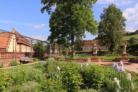 Photo pour View of the monastery garden of Kloster Bronnbach in southern Germany - image libre de droit
