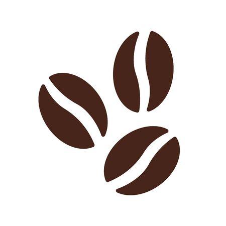 Illustration pour Coffee beans symbol icon vector brown cafe flat. - image libre de droit