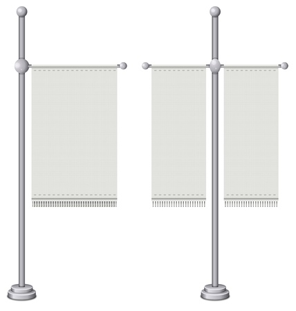 Flags on silver pole