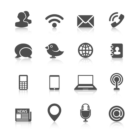 Illustration for Communication Icons with Reflection. Editable EPS format - Royalty Free Image