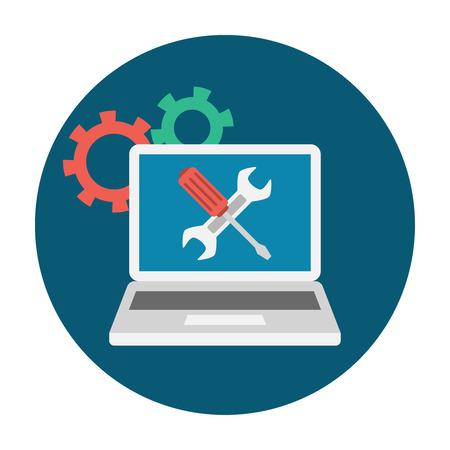 Computer Service Icon. Editable EPS vector format