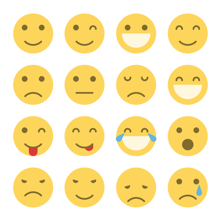 Illustration for Emoji faces icons. Set of emoticons illustrations - Royalty Free Image