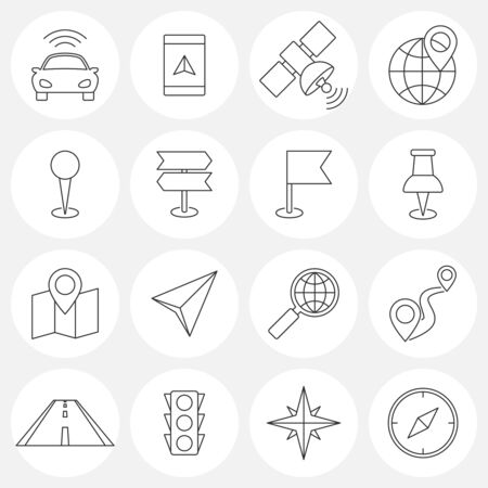 Navigation line icons. Locations and orientation icons concept