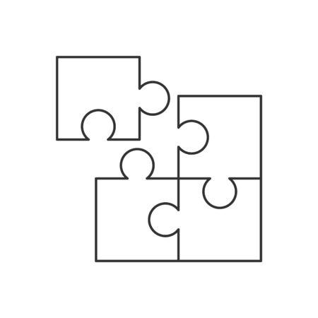 Illustration pour Four piece puzzle line icon on white background - image libre de droit