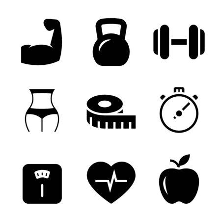Ilustración de Fitness black icons on white background. Vector illustration - Imagen libre de derechos