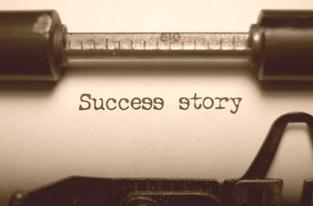 Success story typed on an old typewriter