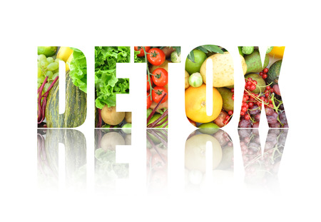 Detox text made from fruits and vegetables