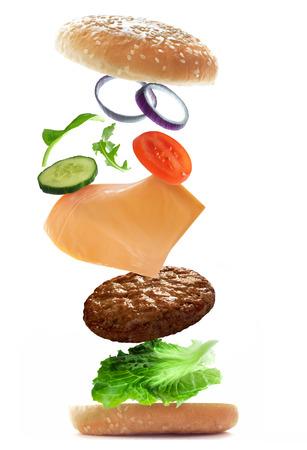 Flying burger ingredients