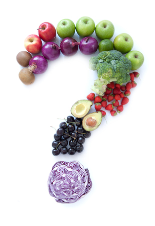 Foto für Question mark made from fruits and vegetables over a white background - Lizenzfreies Bild