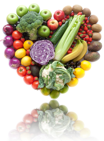 Heart shape fruits and vegetables