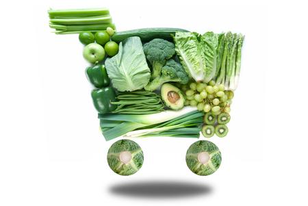 Foto für Healthy green grocery cart concept - Lizenzfreies Bild