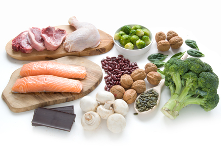 Foods sources for iron including meat, fish, pulses and seeds