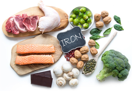 Foods rich in iron including meat, fish, pulses and seeds