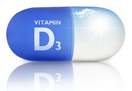 Photo pour Close up of a pill with vitamin d sunshine inside  - image libre de droit
