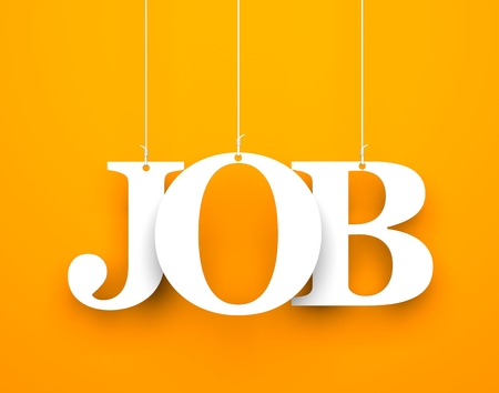 Orange background with hanging letters which make up the word - job