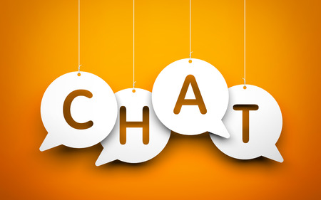 White word Chat suspended by ropes on orange background