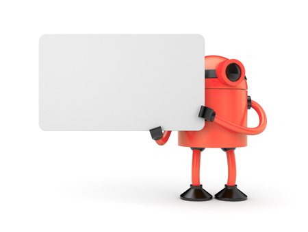 Orange robot holding a empty sign