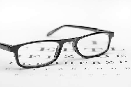 glasses on the background of eye test chart