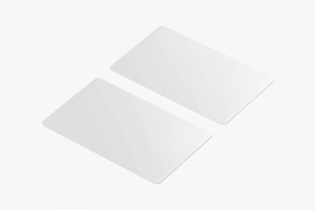 White Credit / Debit Card Mockup, Blank gift card, 3d Rendering isolated on light background, ready for your design