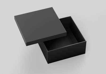 Foto für Black Square Box Mockup, Dark paper shoe box cardboard box container, 3d rendered isolated on light background - Lizenzfreies Bild