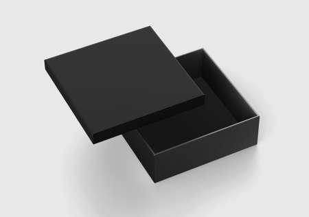 Foto für Black Square Box Mockup, Dark Blank shoe box Cardboard Container, 3d rendering isolated on light background - Lizenzfreies Bild