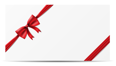 Illustration for red ribbon bow banner vector - Royalty Free Image