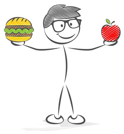 Vektor für stick figure with a hamburger and an apple - Lizenzfreies Bild