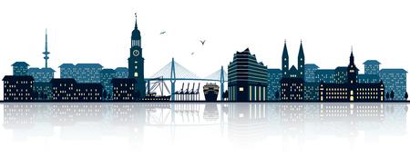 Illustration pour Hamburg skyline - image libre de droit