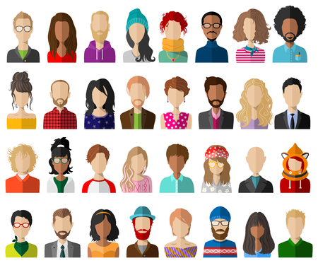 Illustration for People avatar flat vector set - Royalty Free Image