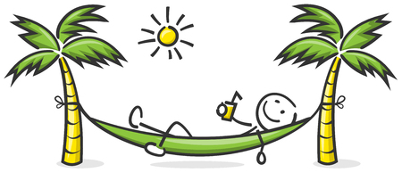 Illustration for Stick figure read in a hammock with palm trees and sun - Royalty Free Image