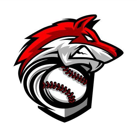 Illustration pour Baseball Wolf Team Logo - image libre de droit